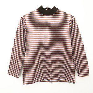 Stunning Vintage Fine Striped Mock Neck Sweater